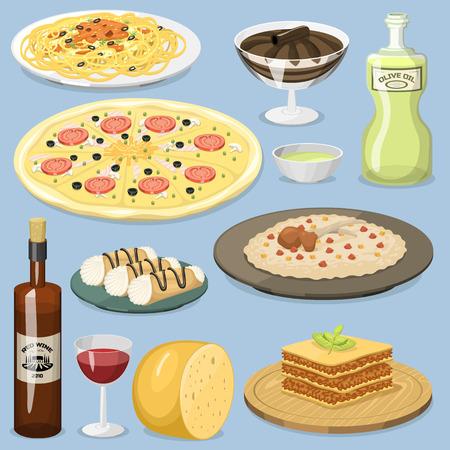 Cartoon Italy food cuisine homemade cooking fresh traditional Italian lunch vector illustration. Illusztráció