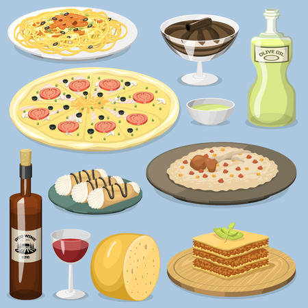Cartoon Italy food cuisine homemade cooking fresh traditional Italian lunch vector illustration. Illustration