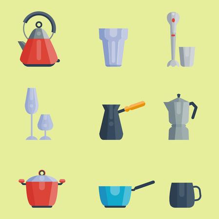 Küchenutensilien Symbole Vektor-Illustration Haushalt Abendessen Kochen Lebensmittel Küchenutensilien Standard-Bild - 80234644