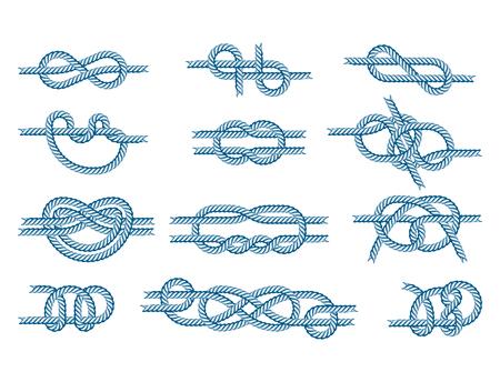 Mer, bateau, corde, noeuds, vecteur, Illustration, isolé, marine, marine, câble, naturel, attirail, signe Vecteurs