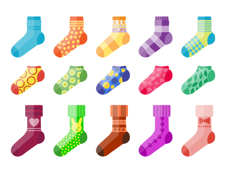 Flat design colorful socks set vector illustration selection of various cotton foot warm cloth Illustration