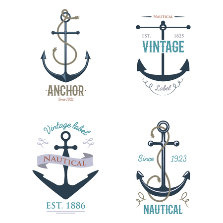 Vintage retro anchor badge and label, vector sign sea ocean graphic element nautical symbol, marine emblem traditional anchorage design illustration. Çizim