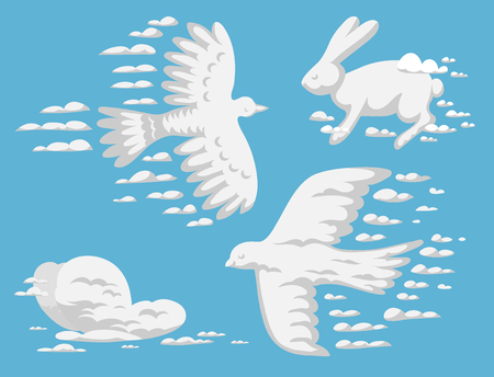 Animal clouds silhouette pattern vector illustration, abstract sky art cartoon environment natural ornament adorable bright fluffy mammal wilding beast. Illustration