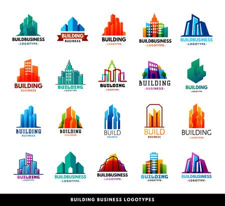 建築建物形状シルエット超高層ビル建設ビルダー開発者機関ロゴ バッジ不動産会社ベクトル イラスト。創造企業都市の家の形を抽象化します。