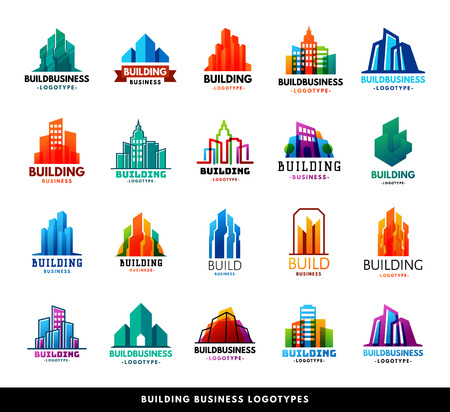 Architecture buildings geometry silhouette skyscraper construction builder developer agency logo badge real estate company vector illustration. Abstract creative corporate city house shape. Vettoriali