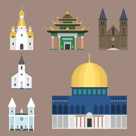 A Cathedral church temple traditional building famous landmark tourism vector illustration. Çizim