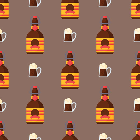 Alcohol drinks seamless pattern beverages cocktail bottle drunk glasses vector illustration. 向量圖像