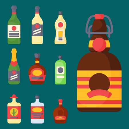 De alcohol drinkt van de de flessenkorst van de drankencocktail de gedronken verschillende glazen vectorillustratie. Stockfoto - 80383262