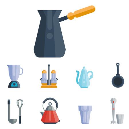 dd84692db #80255755 - Utensilios de cocina iconos ilustración vectorial casa de la  cena cocinar alimentos kitchenware. Colección vajilla cuenco preparación  cubiertos ...