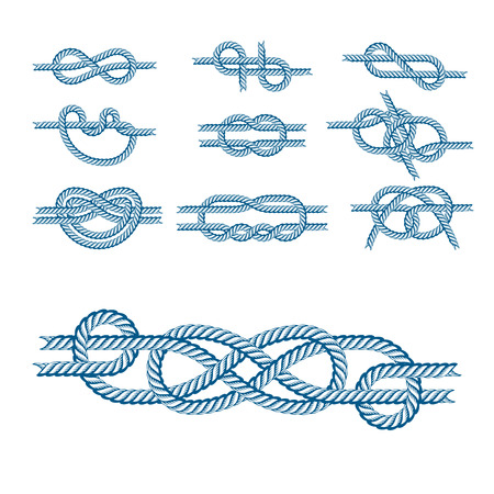 Navy blue rope with marine knots white pattern vector. Sea boat shipping natural tackle sign vessel. Yacht white navy cable sea boat knots lashing bend net string design. Stock Vector - 80255772