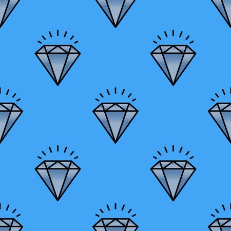 伝統的な華麗なジュエリーのシームレスなパターン ダイヤモンド高級貴重なゴールド ジュエリー ベクトル イラスト。美しいグラマー罰金分アクセ  イラスト・ベクター素材