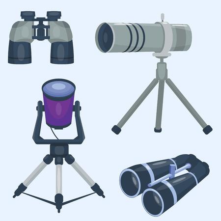 Professionele camera lens verrekijker glas look-see kijker optica apparaat camera digitale focus optische apparatuur vectorillustratie