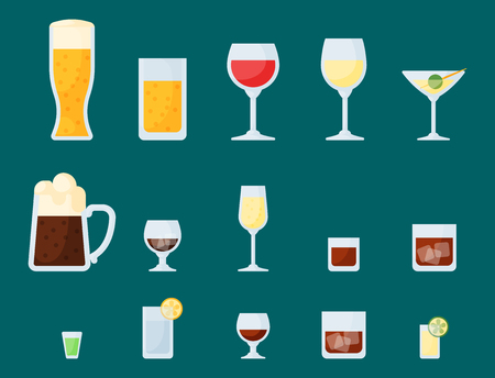 Alcohol drinks beverages cocktail lager container drunk different glasses vector illustration.