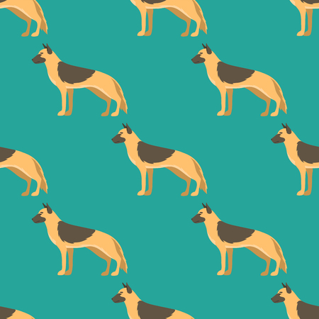 Funny cartoon shepherd dog character bread seamless pattern puppy pet animal doggy vector illustration.