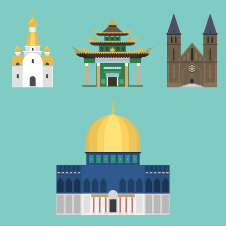 Cathedral church temple traditional building famous landmark tourism vector illustration 版權商用圖片 - 80395497