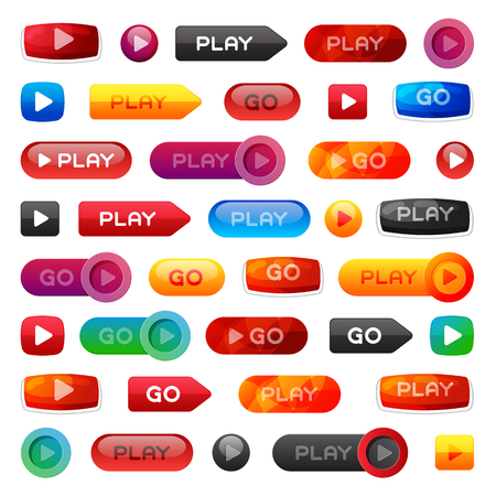Go and play buttons media player internet website ui-ux element online website icon vector illustration