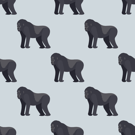 Gorila monkey rare animal vector seamless pattern macaque nature primate character wild zoo ape chimpanzee Фото со стока - 80394400