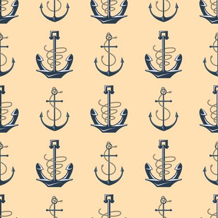 Vintage retro anchor badge vector seamless pattern sea ocean graphic nautical anchorage symbol illustration Illustration