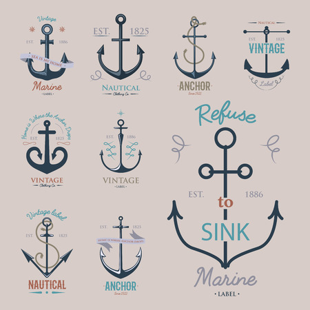 Vintage retro anchor badge vector sign sea ocean graphic element nautical anchorage symbol illustration Çizim