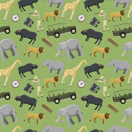 Hunter man shotgun and africa exotic safari wild animals hunting sport vector illustration seamless pattern background