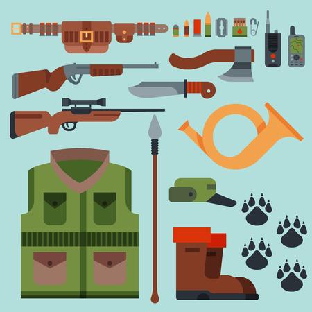 Armes de chasse et symboles éléments de conception illustration de vecteur d'animaux sauvages de chasseur de style plat. Banque d'images - 80395701