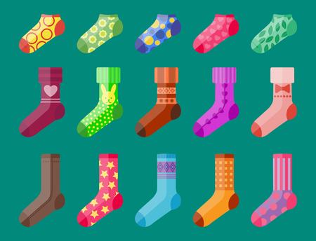 stocking feet: Flat design colorful socks set vector illustration selection of various cotton foot warm cloth Illustration