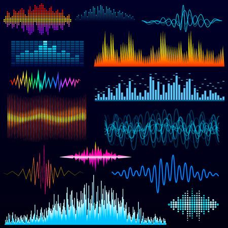Vector digital music equalizer audio waves design template audio signal visualization illustration. Illusztráció