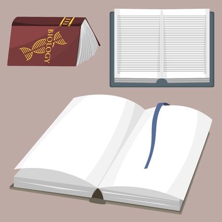genesis: Colorful book vector illustration learn literature study opened closed education knowledge document textbook. Learning page university text reading encyclopedia. Illustration