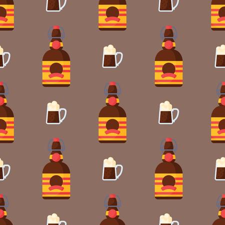 알코올 음료 원활한 패턴 음료 칵테일 병 라 게 다과 컨테이너 및 메뉴 술에 취해 개념 안경 벡터 일러스트 레이 션. 레스토랑 테킬라 럼 파티 펍 코냑