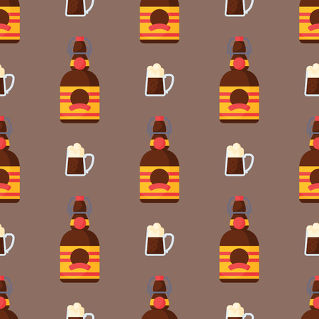 Alcohol drinks seamless pattern beverages cocktail bottle lager refreshment container and menu drunk concept glasses vector illustration. Restaurant tequila rum party pub cognac. 版權商用圖片 - 80402061