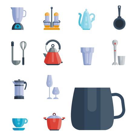 Küchenutensilien Icons Vektor-Illustration Haushalt Abendessen Kochen Essen Geschirr Standard-Bild - 80545681