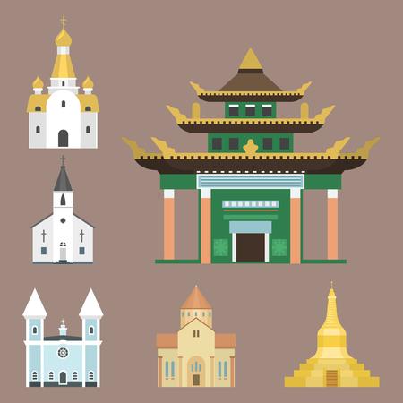 Illustrazione tradizionale infographic di vettore di turismo del punto di riferimento della costruzione del tempio della chiesa della cattedrale. La storia delle religioni mondiali celebra il famoso monumento del cristianesimo. Archivio Fotografico - 80437372