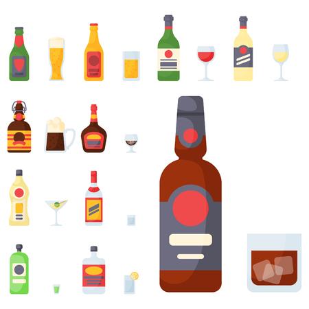 アルコールは飲む飲料カクテル ボトル ラガー コンテナー酔って異なるベクトル図です。