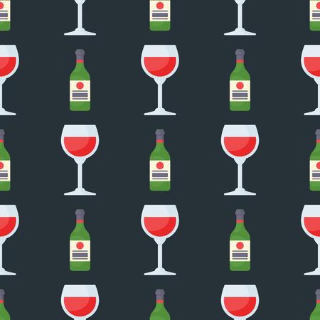 De alcohol drinkt de naadloze gedronken glazen vectorillustratie van patroondranken van cocktailfles. Stock Illustratie