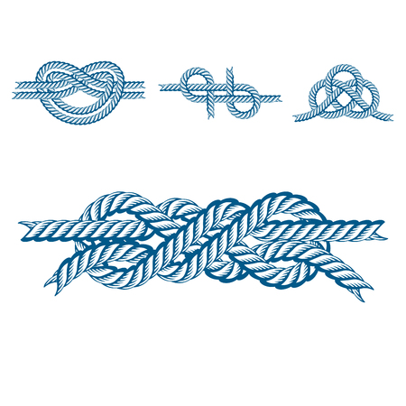 Sea boat rope knots vector illustration isolated marine navy cable natural tackle sign Stock Vector - 80437376