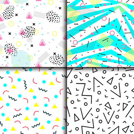 Universal memphis 80-90 seamless pattern endless abstract textures geometric ornament background vector illustration.