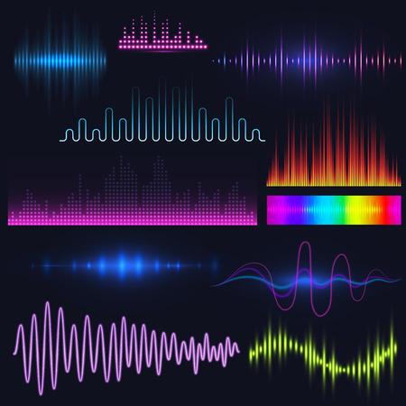 Vector digital music equalizer audio waves design template audio signal visualization illustration. Illustration