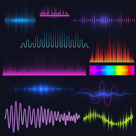 Vector digital music equalizer audio waves design template audio signal visualization illustration. Ilustração