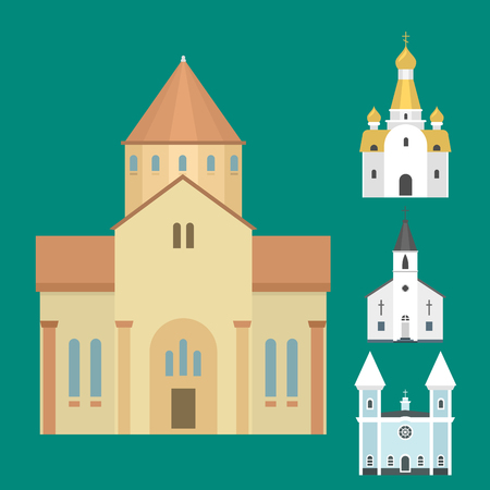 Cathedral church temple traditional building famous landmark tourism vector illustration Stok Fotoğraf - 80535104