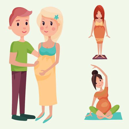 Zwangerschap moederschap mensen verwachting concept gelukkig zwangere vrouw karakter leven met grote buik vector illustratie