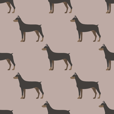 Funny cartoon doberman dog character bread seamless pattern puppy pet animal doggy vector illustration.