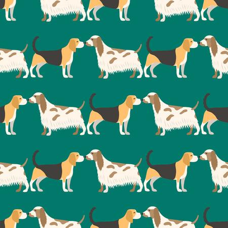 Funny cartoon dog character bread seamless pattern puppy pet animal doggy vector illustration. Ilustracja