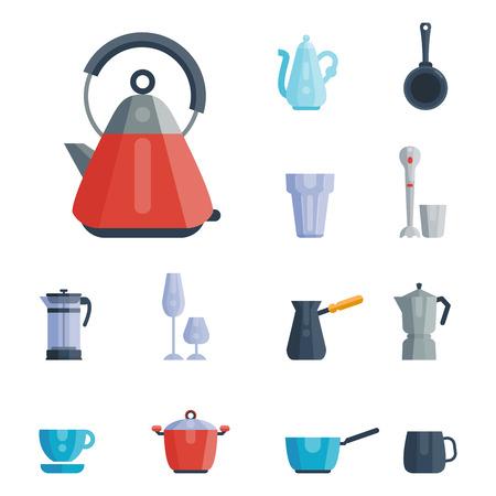 Küchenutensilien Icons Vektor-Illustration Haushalt Abendessen Kochen Essen Geschirr Standard-Bild - 80535115