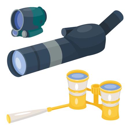 Professional camera lens binoculars glass look-see spyglass optics device camera digital focus optical equipment vector illustration