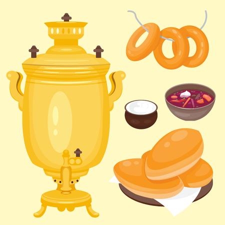 Cuisine traditionnelle russe Cuisine plat plat nourriture bienvenue en Russie gourmet national repas illustration vectorielle Banque d'images - 80535117