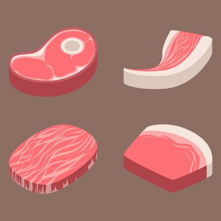 쇠고기 스테이크, 날 것의, 고기, 빨강, 신선한, 잘라 내기, 정육점, 날 것의, 바베큐, 바베큐, 조각, 성분, 일러스트 레이션,