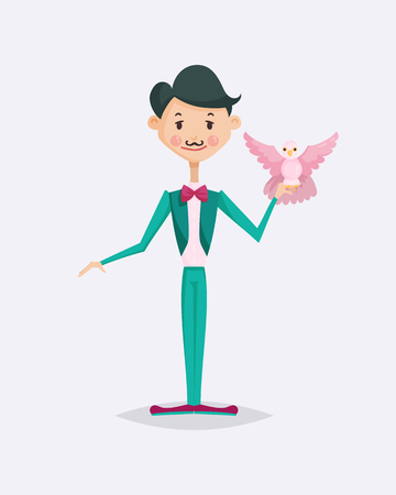 Cute magician character tricks vector illustration magic show cartoon man wizard circus Illusztráció