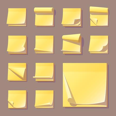 노란색 office 스티커 메모 메모 벡터 일러스트 레이 션 스티커 용지 접착제 정보 메모 비어 있습니다. 일러스트