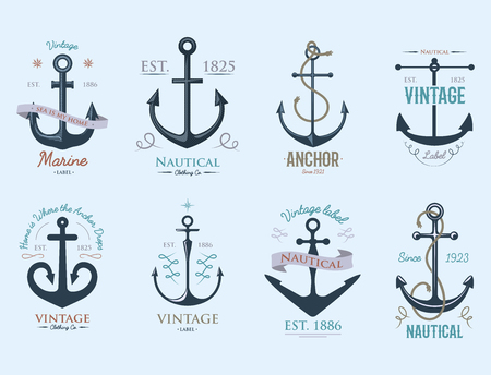 Vintage retro anchor badge vector sign sea ocean graphic element nautical anchorage symbol illustration 向量圖像