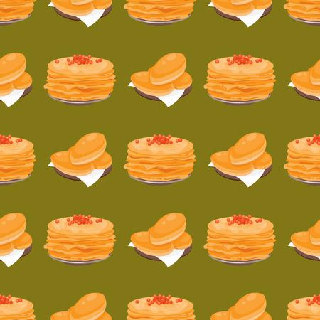러시아 전통 팬케이크 요리 원활한 패턴 요리 코스 음식 미식 국가 식사 벡터 일러스트 레이 션.